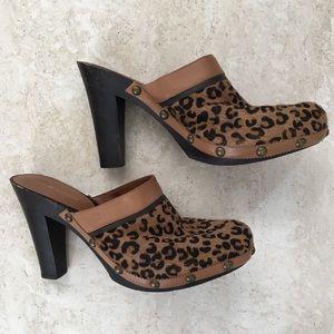 Tommy Hilfiger Leopard Print Calf Hair Mule Clogs